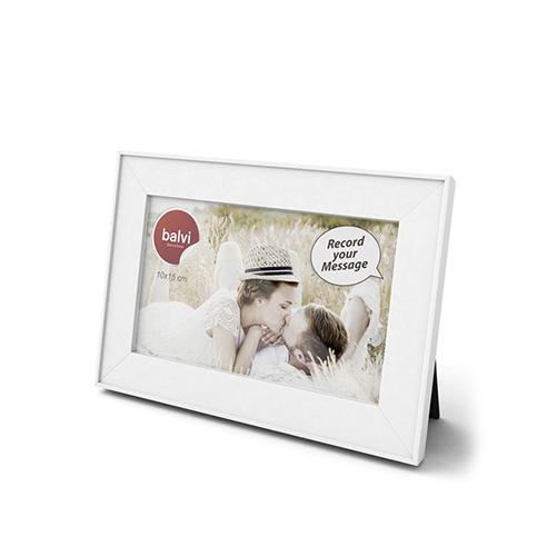 Portafoto da tavolo bianco con messaggio registrabile
