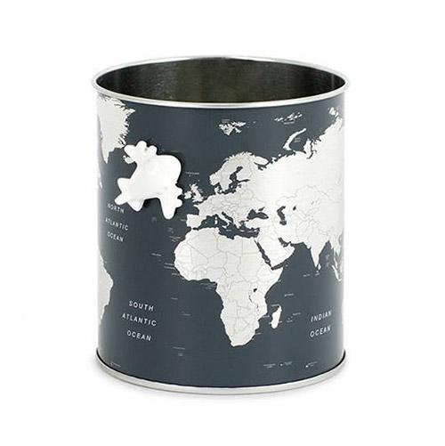 Porta matite Globe in latta con magnete Balvi