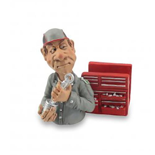 Statuine Caricature Mestieri Meccanico porta cellulare o porta bigliettini da visita