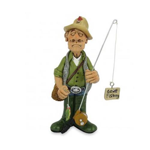 Statuina, caricatura mestiere, professione Pescatore con canna