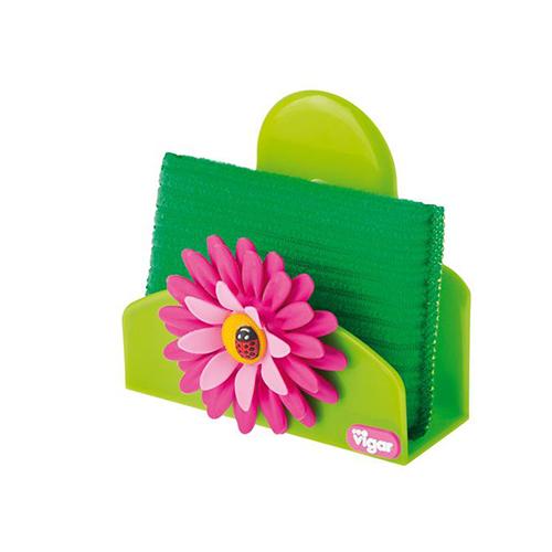"Mensola Porta spugna con ventosa ""Flower Power"" verde"