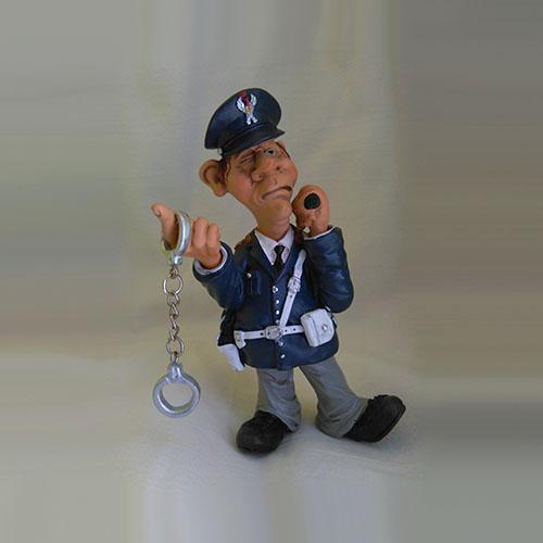statuina caricatura mestiere poliziotto con manette