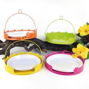 Portapiatti Flowers da tavolo in latta giallo, verde, arancio e fucsia