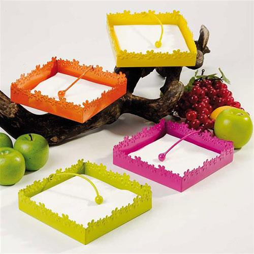 Portatovaglioli in metallo verde giallo arancione e fucsia da tavolo