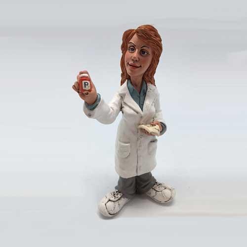 Statuina caricatura mestiere farmacista donna