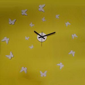 Orologio Farfalle da parete adesivo componibile bianco