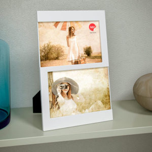 Portafoto Dijon da tavolo per 2 foto 10 x 15 bianco