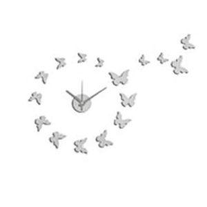 Orologio Farfalle da parete adesivo bianco