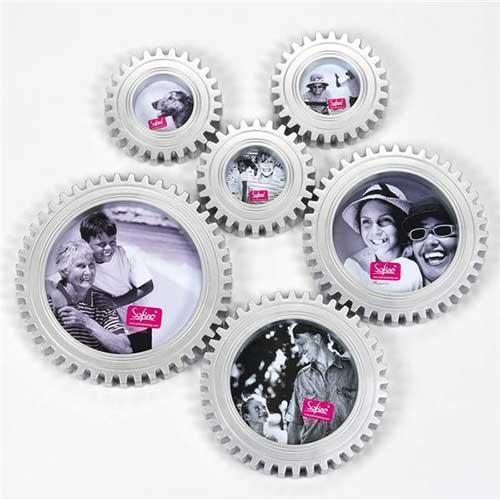 set di 6 portafoto ingranaggi a forma di rotelle