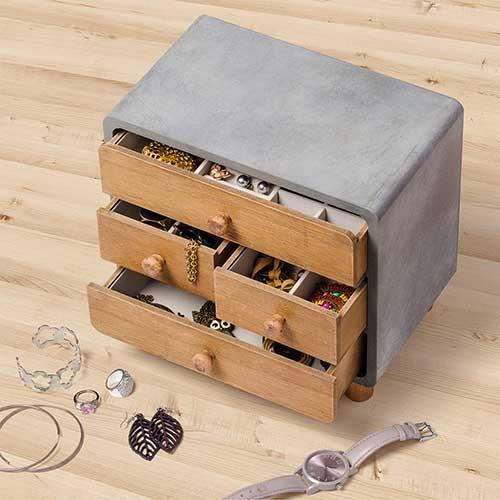 Contenitore mobile portagioie loft industrial style in legno 4 cassetti