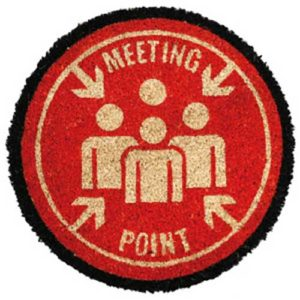 Zerbino rotondo in cocco Meeting Point rosso, bianco e nero