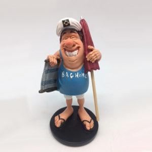 Statuina caricatura mestieri di un simpatico bagnino