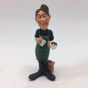 Statuina caricatura mestieri il barista con caffè