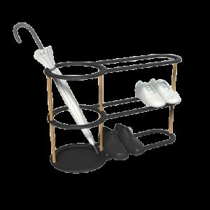 Porta ombrelli e porta borse con scarpiera in metallo e legno