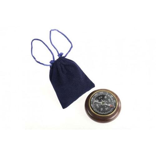 Bussola lente fermacarte da tavolo in legno ed ottone invecchiato