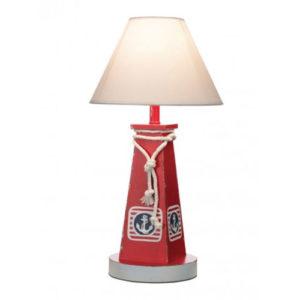 Lampada Boa da tavolo rossa in legno stile nautico