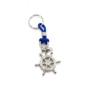 Portachiavi Timone in metallo con cordino blu