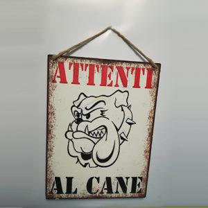 """Targhetta metallo """"Attenti al cane"""""""