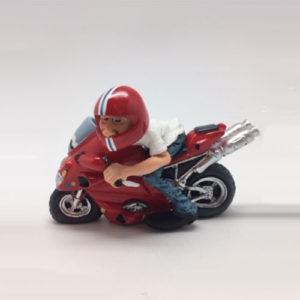 """Statuina, caricatura mestiere, professione """"Motociclista con moto da corsa"""""""