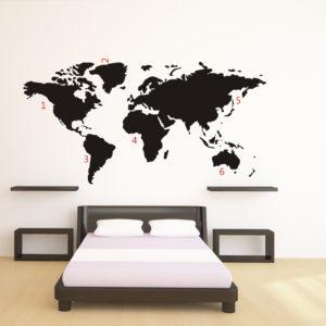 Adesivo murale Mappa del Mondo