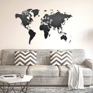 Mappa del mondo da parete in legno nero 130 x 78