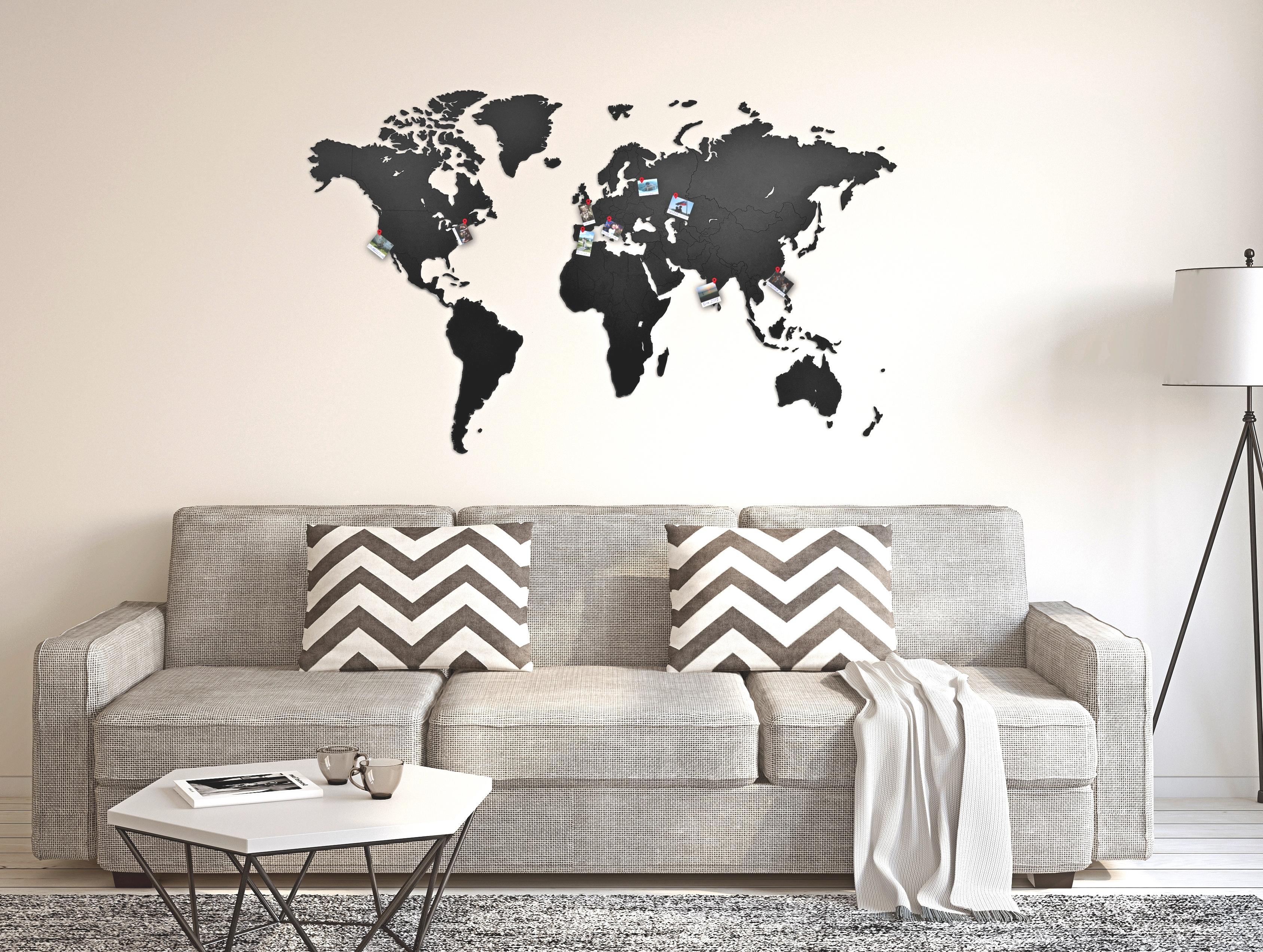 Cartina Del Mondo Da Parete.Mappa Del Mondo Da Parete In Legno Nero 130 X 78 Arridea