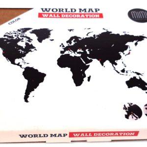 Mappa del mondo da parete in legno nero 90 x 54