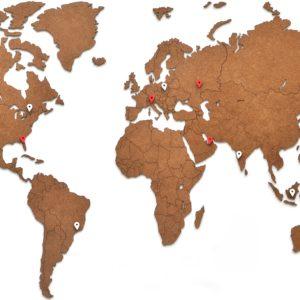 Mappamondo da parete in legno brown 90 x 54