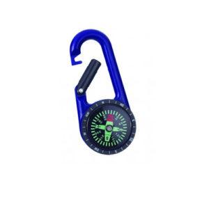 Portachiavi bussola con moschettone blu