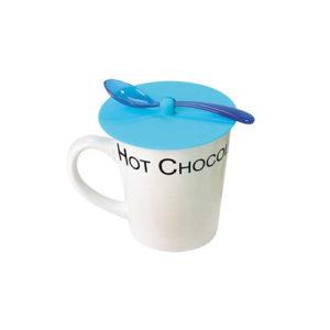 Coperchio per tazza in silicone con cucchiaio azzurro