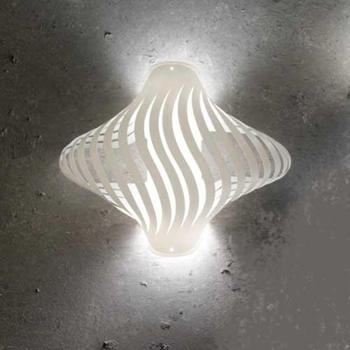 Applique lampada da parete Helios Shell 32 bianca