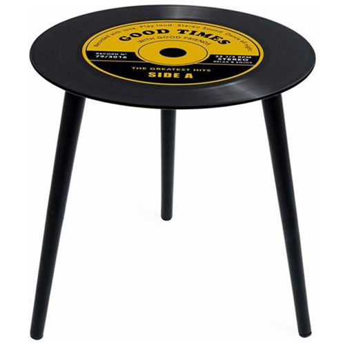 Tavolino Greatest Hits giallo a forma di disco vinile