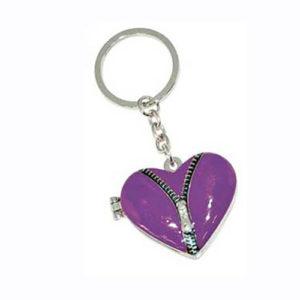 Portachiavi Cuore viola con specchietto e portafoto in metallo