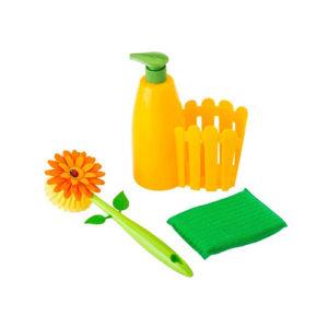 Set dosasapone, spazzola, spugnetta per piatti Flower Power Vigar