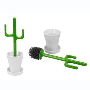 Scopino per WC a forma di Cactus bianco/verde Vigar