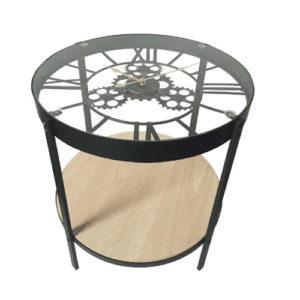 Tavolino Orologio con ingranaggi in metallo e legno