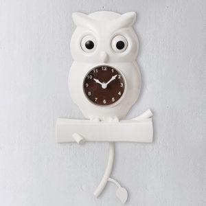 Orologio Uhu Gufo a pendolo da parete bianco
