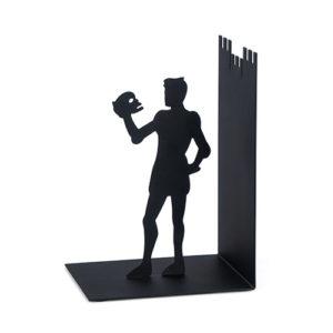 Fermalibri Hamlet a forma di Amleto in metallo nero