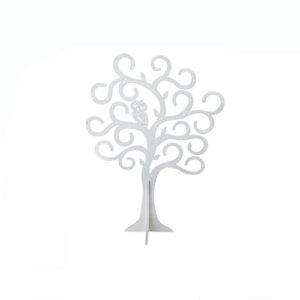 Portagioie Albero con Gufo in legno bianco