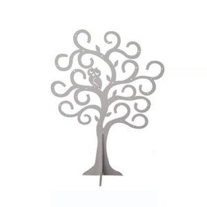 Portagioie Albero con Gufo in legno silver