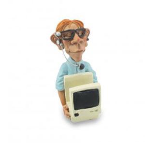 Statuina, caricatura mestiere porta cellulare biglietti da visita Informatico 10,5 cm.