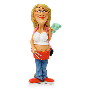 Statuina, caricatura mestiere, professione Parrucchiera 9 cm.