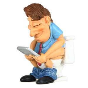 Statuina, caricatura mestiere Ragazzo su gabinetto con Smartphone 8 cm.