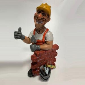 Statuina, caricatura mestiere, professione Muratore con cazzuola