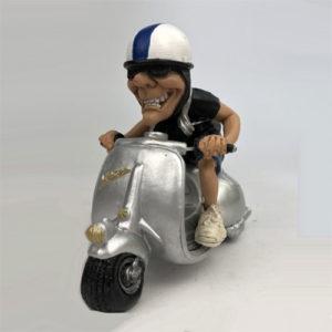 Statuina, caricatura mestiere, professione Vespa con pilota