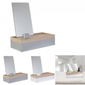 Portagioie da tavolo in legno con specchio