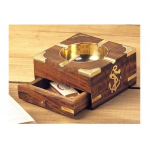 Posacenere nautico da tavolo in legno e ottone con cassetto