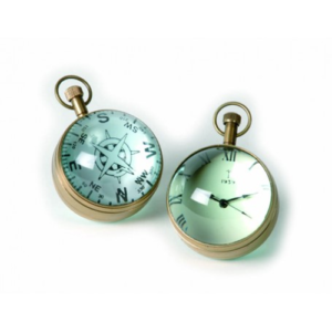 Orologio e Rosa dei Venti a sfera di vetro in scatola di legno