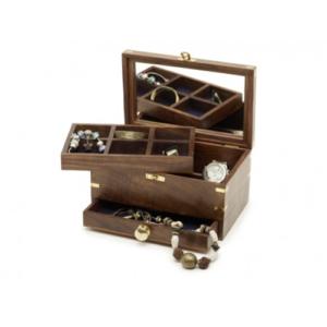Portagioie nautico in legno e ottone con cassetto