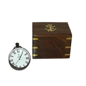 Orologio e Rosa dei Venti 2 in 1 a sfera di vetro in scatola di legno
